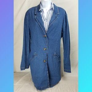 Orvis Denin Blue Jean Coat Jacket Button Up Sz 18